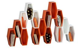 Crate&Barrel, Hive Orange Storage Unit