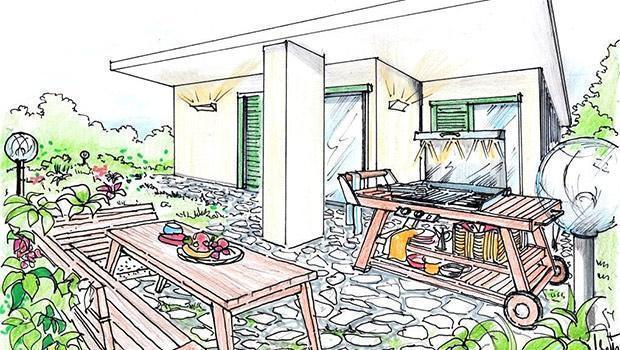 Progetto arredamento e d 39 interni realizzato a mano libera for Esempi di arredamento interni