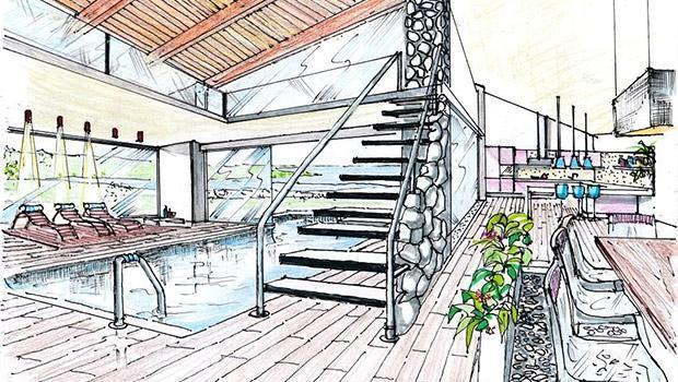 Progetto arredamento e d 39 interni realizzato a mano libera for Disegno interno casa