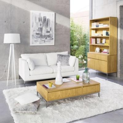 Salotto Maisons du Monde con divano trasformabile bianco in cuoio