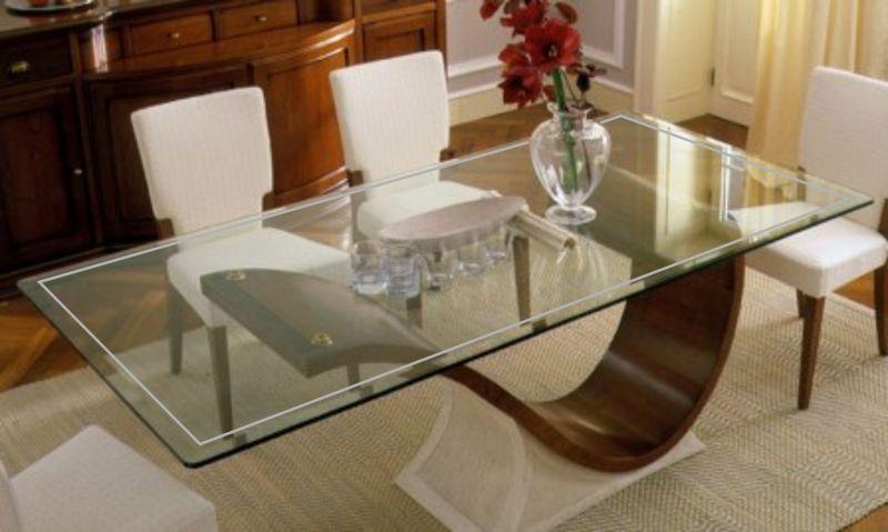 Tavoli vetro e legno protezione trasparente su misura 3