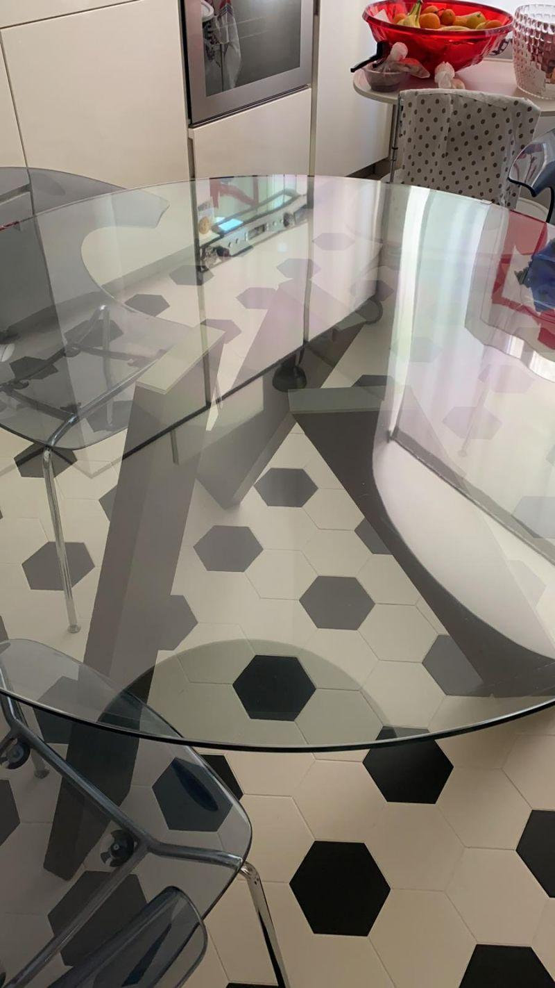 Tavoli vetro e legno protezione trasparente su misura 7