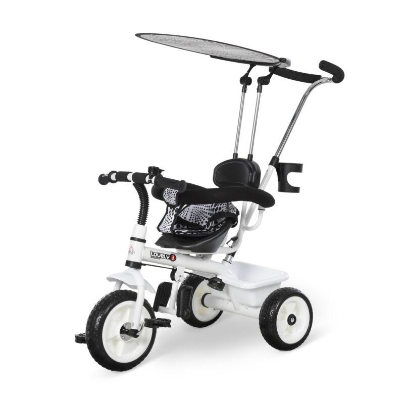 HOMCOM Triciclo Passeggino con Maniglione per Bambini con Parasole, In Metallo 1
