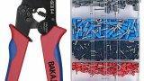 Pinza Crimpatrice 0,25-10mm con Kit Capicorda 1200pz Set Elettricista Crimpare