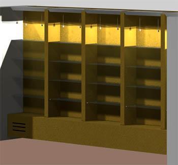 Arredare isolando:vista progettuale della libreria