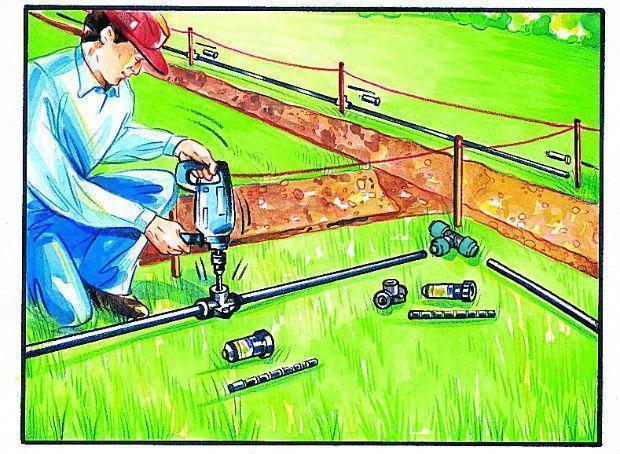 Impianto di irrigazione interrata, montaggio irrigatori
