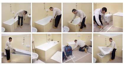 Fasi sovrapposizione vasca in vasca da bagno