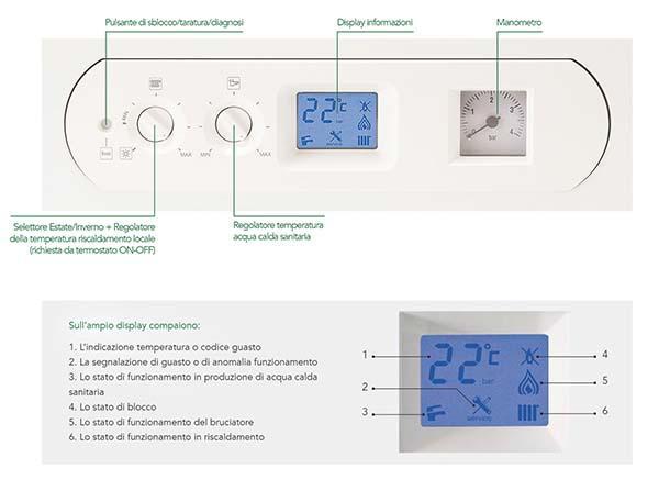Comandi intuitivi della caldaia a condensazione Ariel Energia