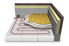 Sezione di un pavimento con installazione di un impianto a pannelli radianti