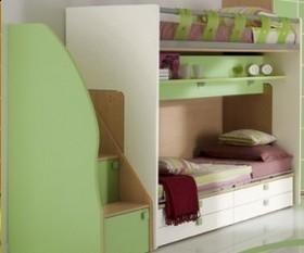 letto a castello 3 posti ikea : Mobilificio Fogliense-Mod Moon. Bunk sliding. Maple + white and green.