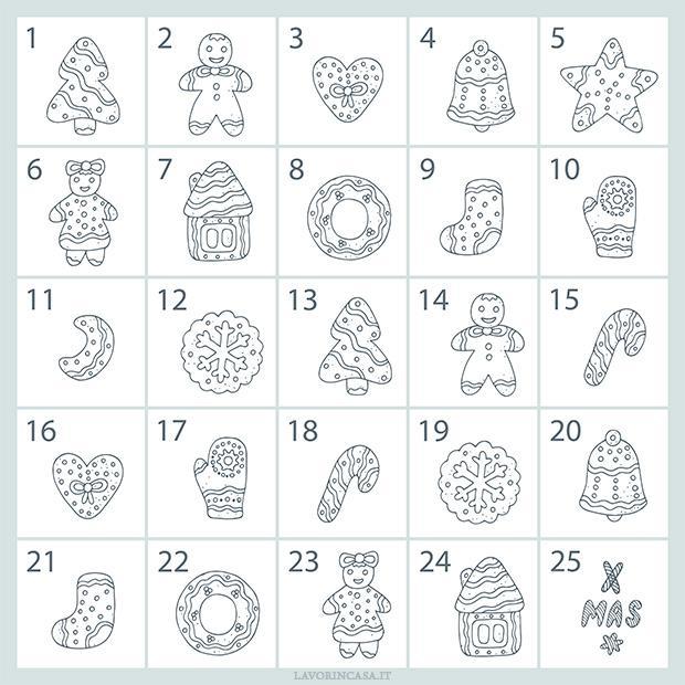 2) Calendario dell'avvento 2018 da colorare