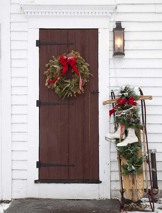 Porta d 39 ingresso natalizia - Decorazioni natalizie in legno fai da te ...