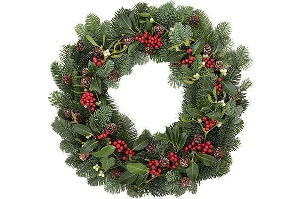 Ghirlanda natalizia con rami di abete