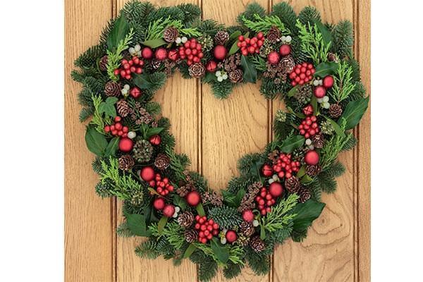 Ghirlanda natalizia a forma di cuore