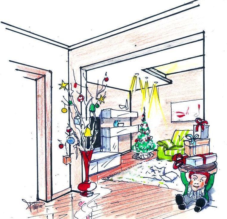 Disegno decorazione natalizia salotto