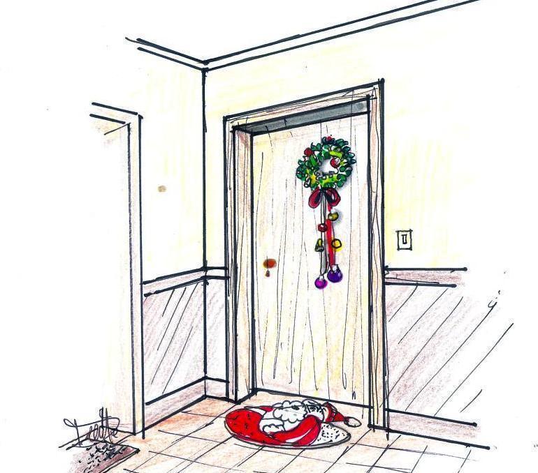 disegno decorazione natalizia porta