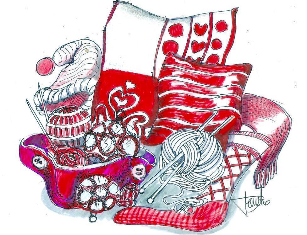 Disegno composizione tricotage natalizio
