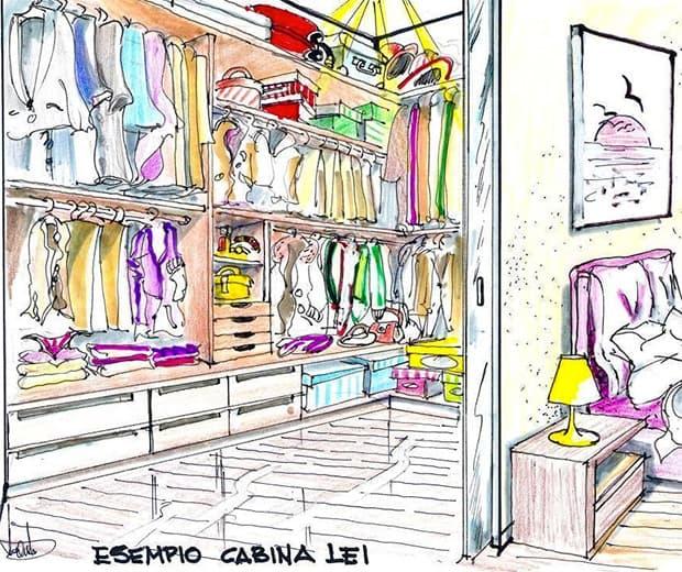 Disegno cabina armadio lei