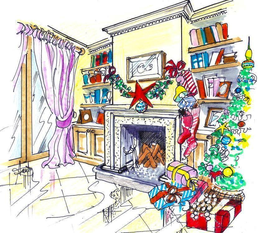 Decorazione natalizia per camino classico