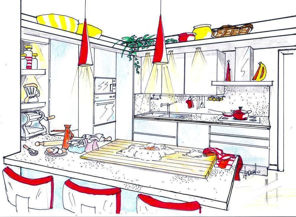 Penisola in cucina - Disegni per cucina ...