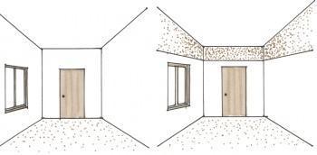 Dipingere le pareti laterali per abbassare il soffitto