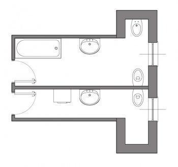 Ricavare un grande bagno da due piccoli - Dimensioni sanitari bagno piccoli ...