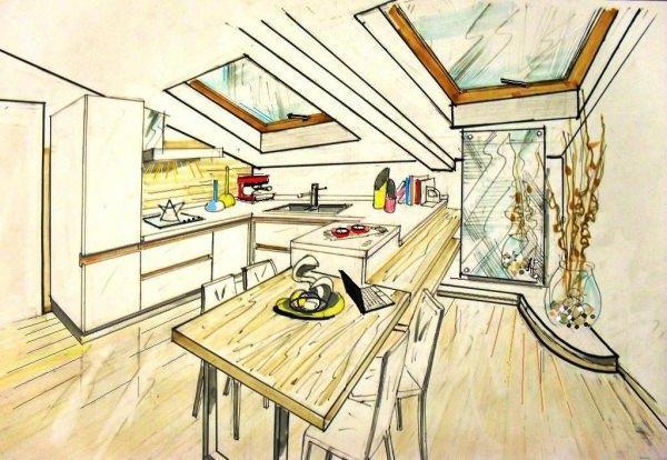 Cucina in mansarda for Disegnare interni casa
