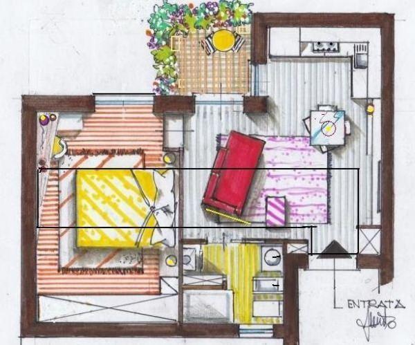 Progetto appartamento 30 mq for Piani di casa artigiano con immagini