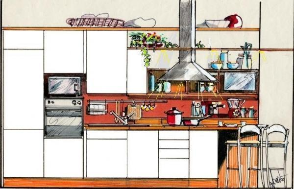 Ecco svelato il frontale della cucina, dalla colonna frigo