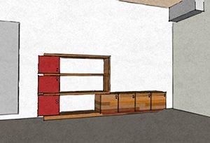 schema di parete attrezzata con moduli chiusi o aperti
