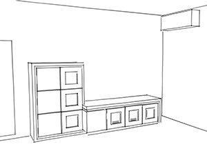 parete attrezzata con parte bassa dove alloggiare il televisore