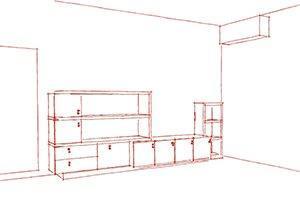 soluzione di parete attrezzata non opportunamente dimensionata rispetto alla parete