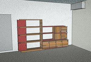 soluzione di parete attrezzata composta con moduli chiusi e aperti