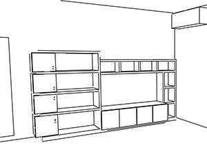 soluzione con spazio televisore contornato da moduli aperti