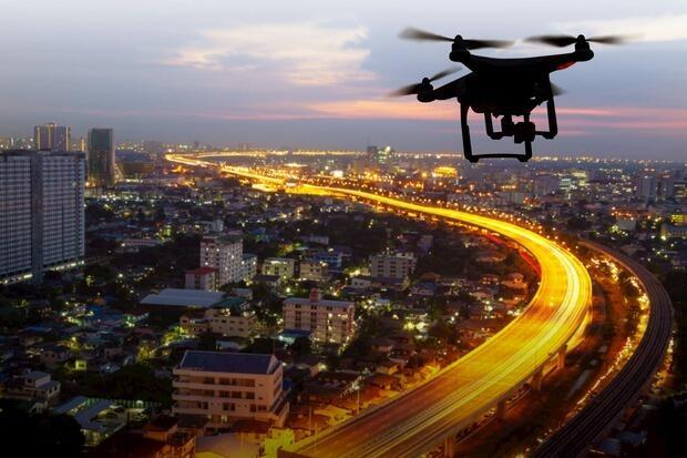 Veduta aerea con drone, impiego nel campo edile