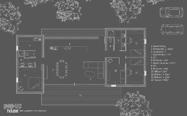 Pop-up House: pianta