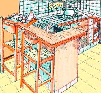 Cucina per casa vacanze for Cucina con bancone snack
