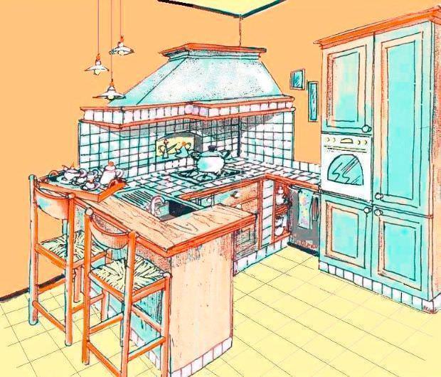 rappresentazione a mano libera per una caratteristica piccola cucina ...