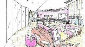 Progetto camera da letto semicircolare