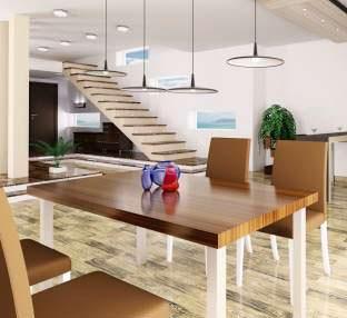 Scale, mobili e tavolo in listellare