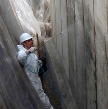 Il trattamento con vetroliquid su parete interrata Ditta Ecobeton