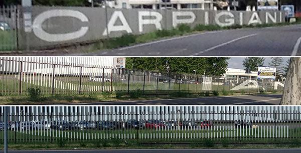 Un esempio di anaformosi lineare è visibile sulla recinzione della sede aziendale Carpigiani, nota fabbrica di gelati.