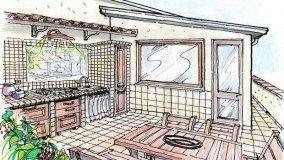 Cucina in muratura da esterno