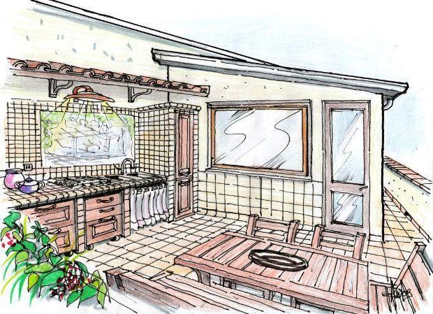 Disegno Parete Cucina : Disegno cucina muratura terrazzo