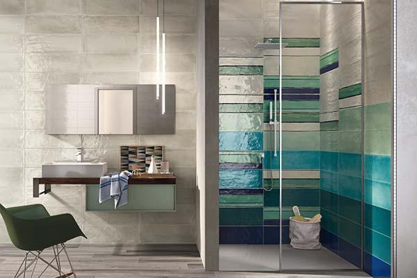 Pavimento e rivestimento ceramico in un ambiente bagno: collezione Shades di Imola Tiles full of Life