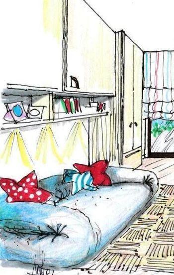 living in un monolocale al mare : Con una luminosa tonalit? turchese marino ho reinterpretato il divano ...