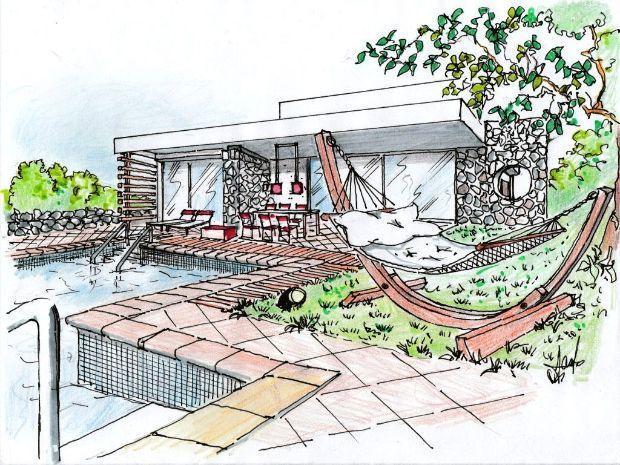 Villa con piscina e amaca for Disegni di casa italiana moderna
