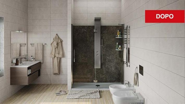 Trasformazione vasca con doccia con Remail - dopo