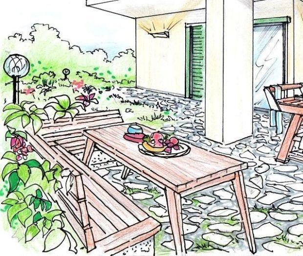 disegno Casa Giardino : primo piano, nel disegno, vediamo la zona pranzo inserita nel giardino ...