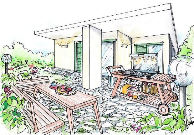 disegno Casa Giardino : Disegno di giardino con barbecue